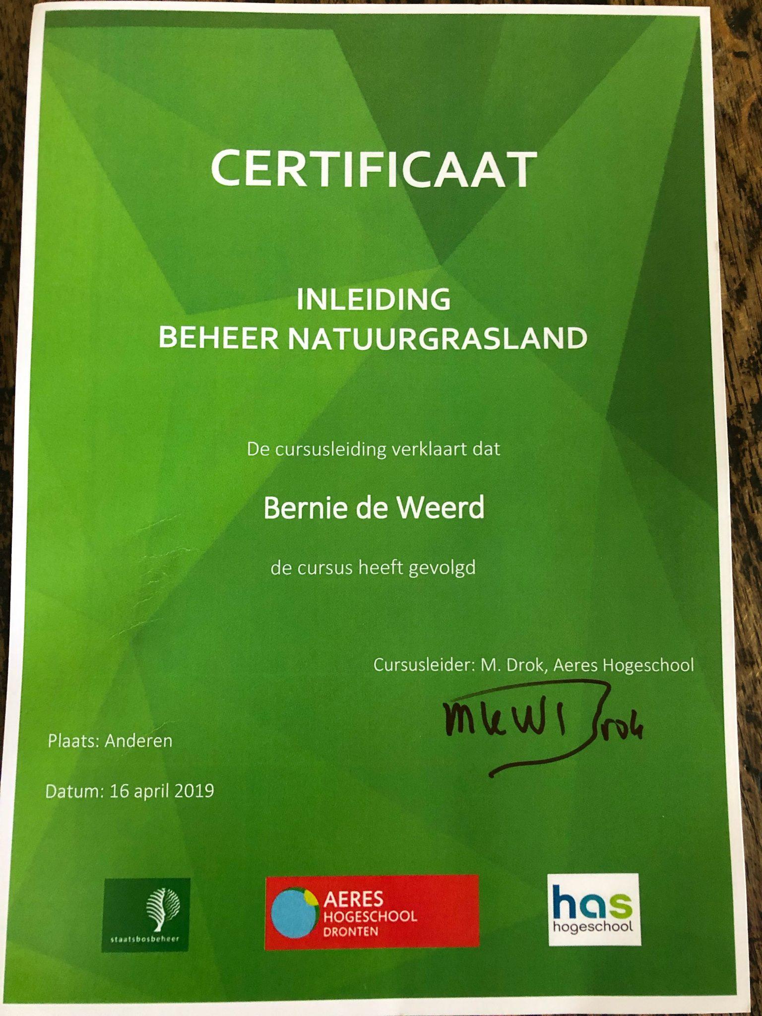 Bernie de Weerd gecertificeerd voor beheer Natuurgrasland