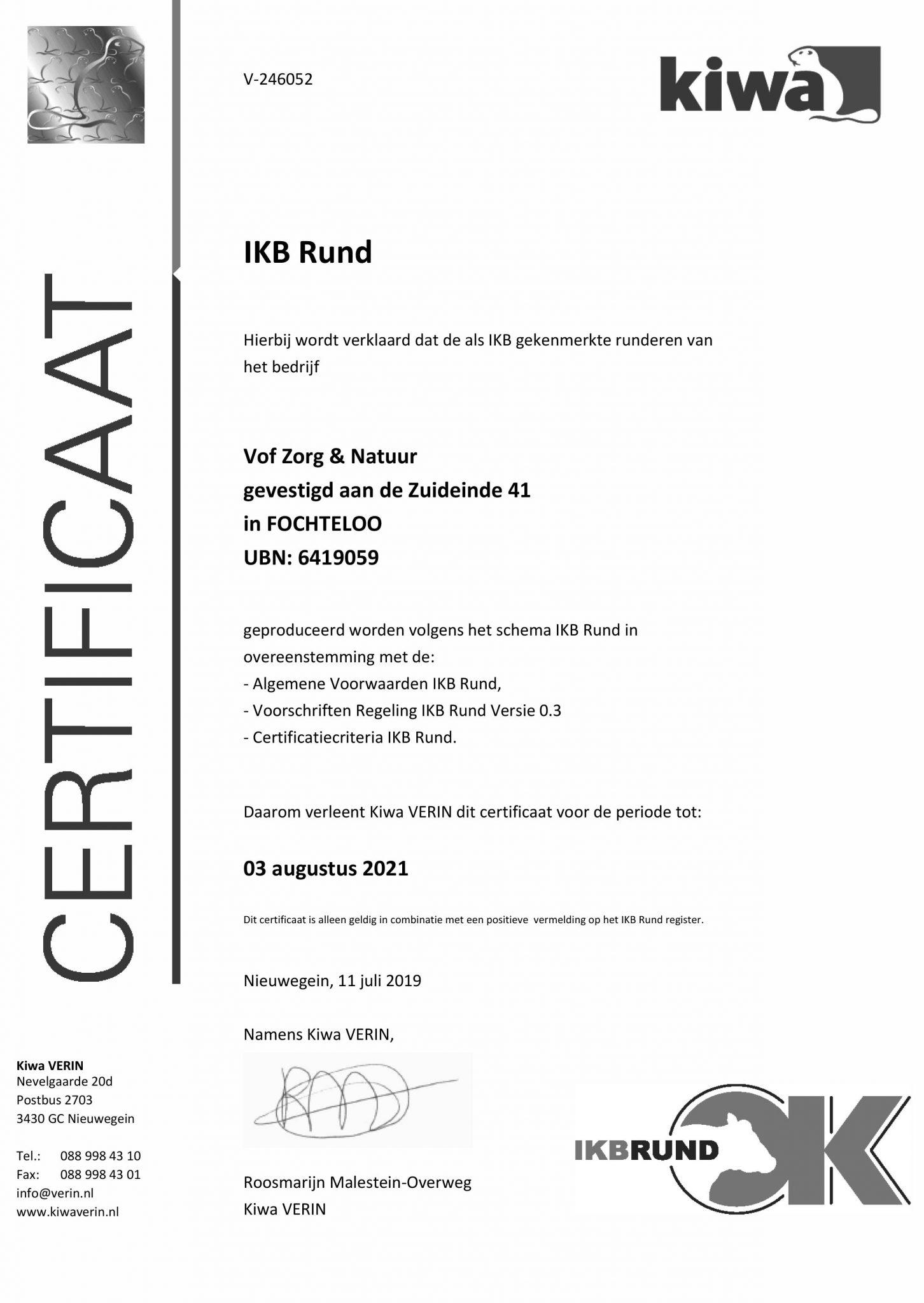 IKB certificaat Zorg & Natuur