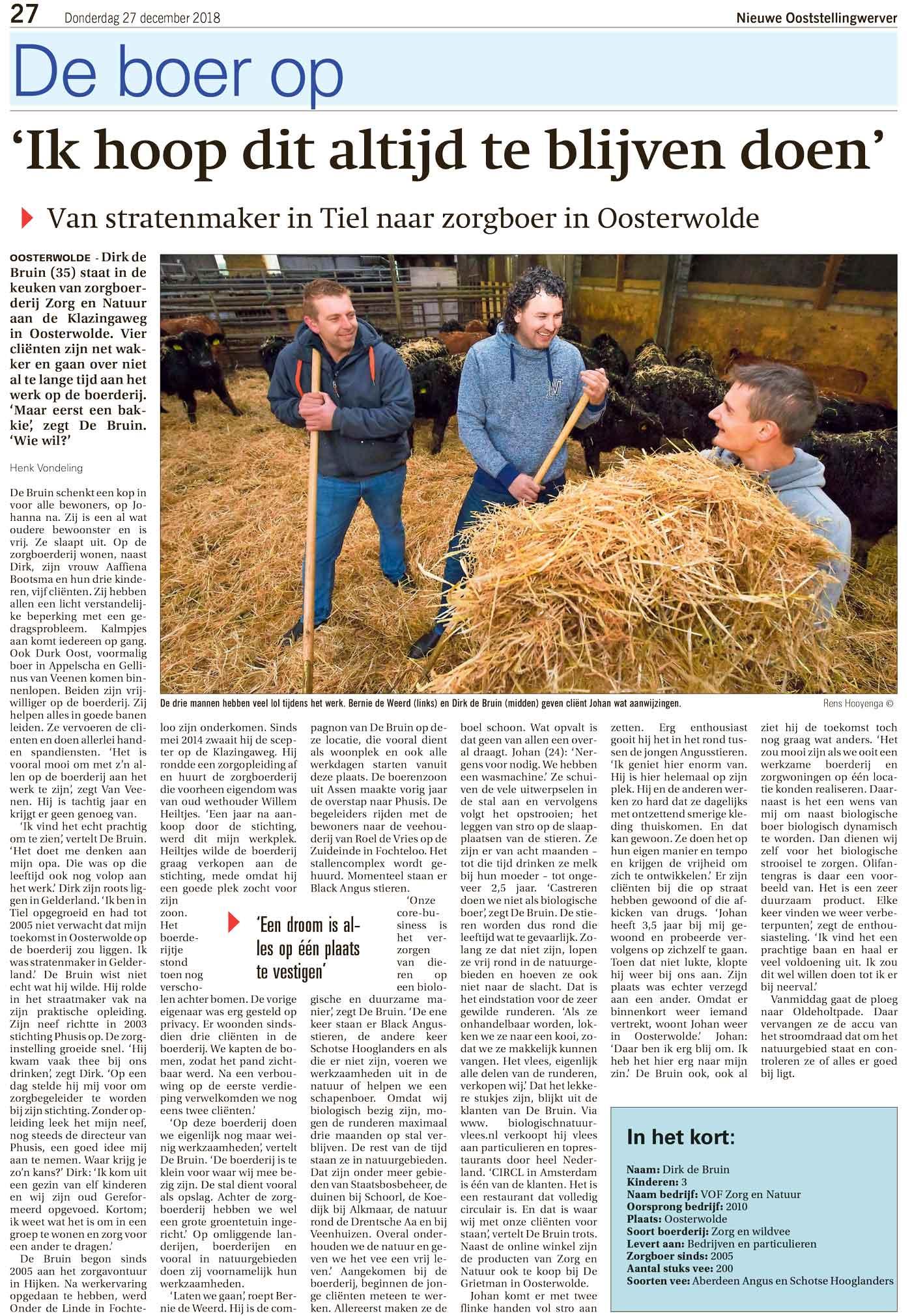 Interview met Dirk de Bruin in de Nieuwe Ooststellingwerver