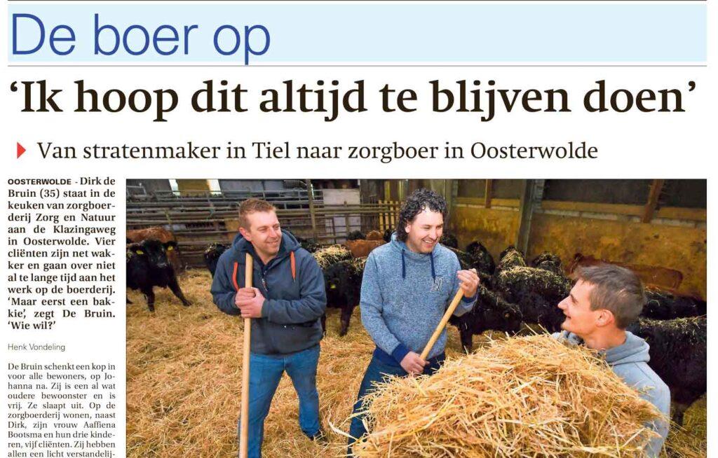 de boer op met Dirk de Bruin van ZorgNatuur.nl