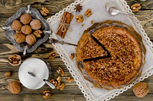 Walnotentaart met caramel
