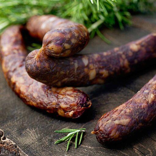 salami worstjes, 2 stuks biologische borrelworstjes