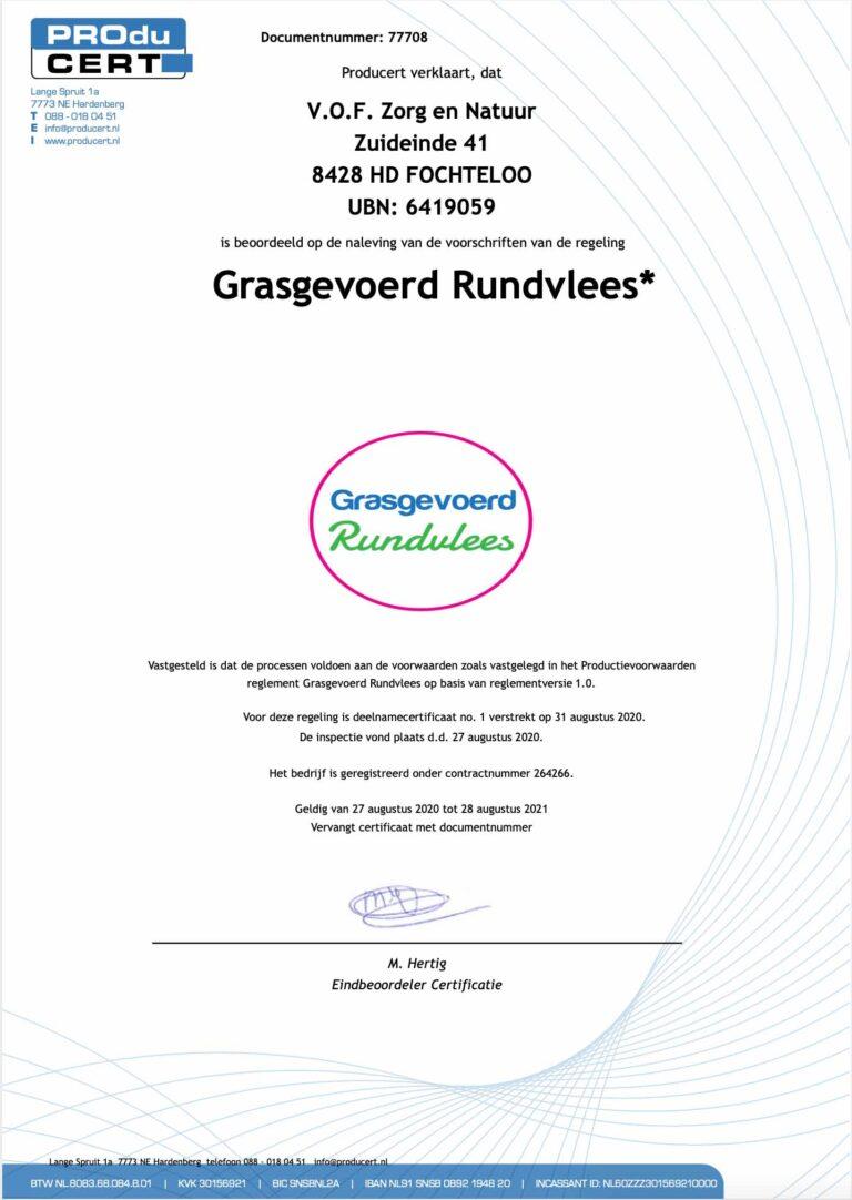 Certificaat Grasgevoerd Vlees Zorg & Natuur