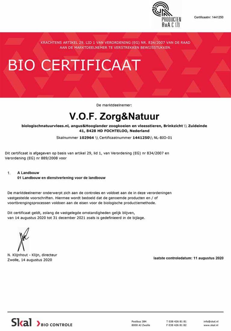 SKAL BIO Certificaat ZorgNatuur
