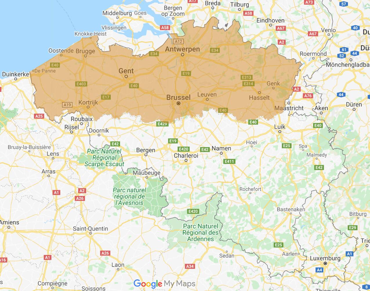 België bezorggebieden zorgnatuur.nl
