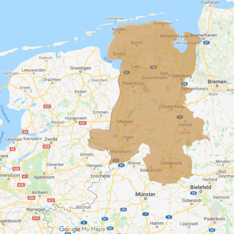 bezorging Duitsland gebied