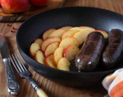 bakbloedworst met appeltjes in de pan