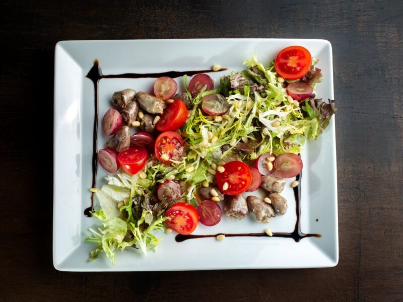 kippenhart in een salade